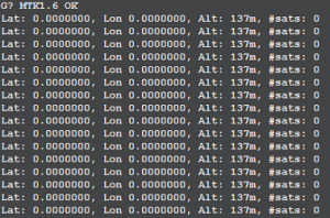 Some CLI test data from the working GPS searching for satellites.